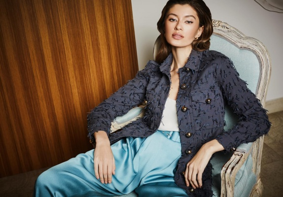 Campaign AW 19/20 by Olga Bovi coco jacket_blue trousers_top silk white
