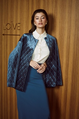 Campaign AW 19/20 by Olga Bovi white blouse_sea suit_russa blue jacket