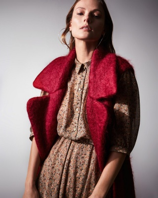 Campaign AW 19/20 MOHAIR DOUBLE VEST + CLAIRE GREEN DRESS